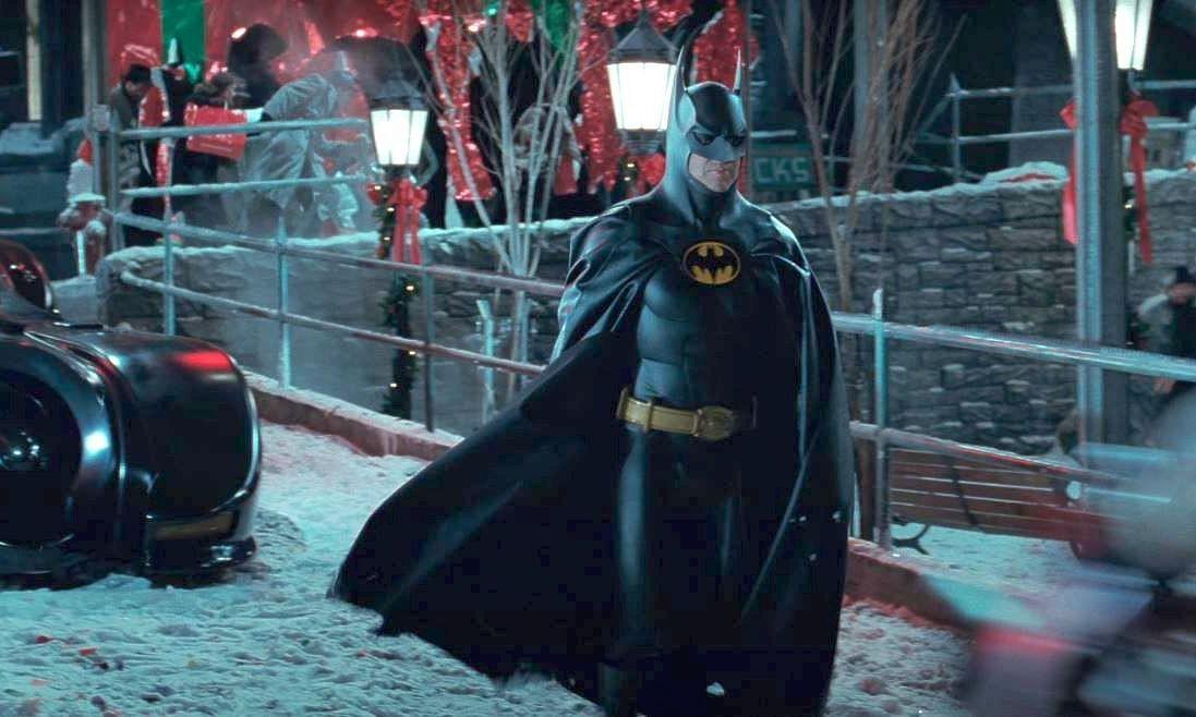 Screen grab of actor Michael Keaton playing Batman in Tim Burton's films