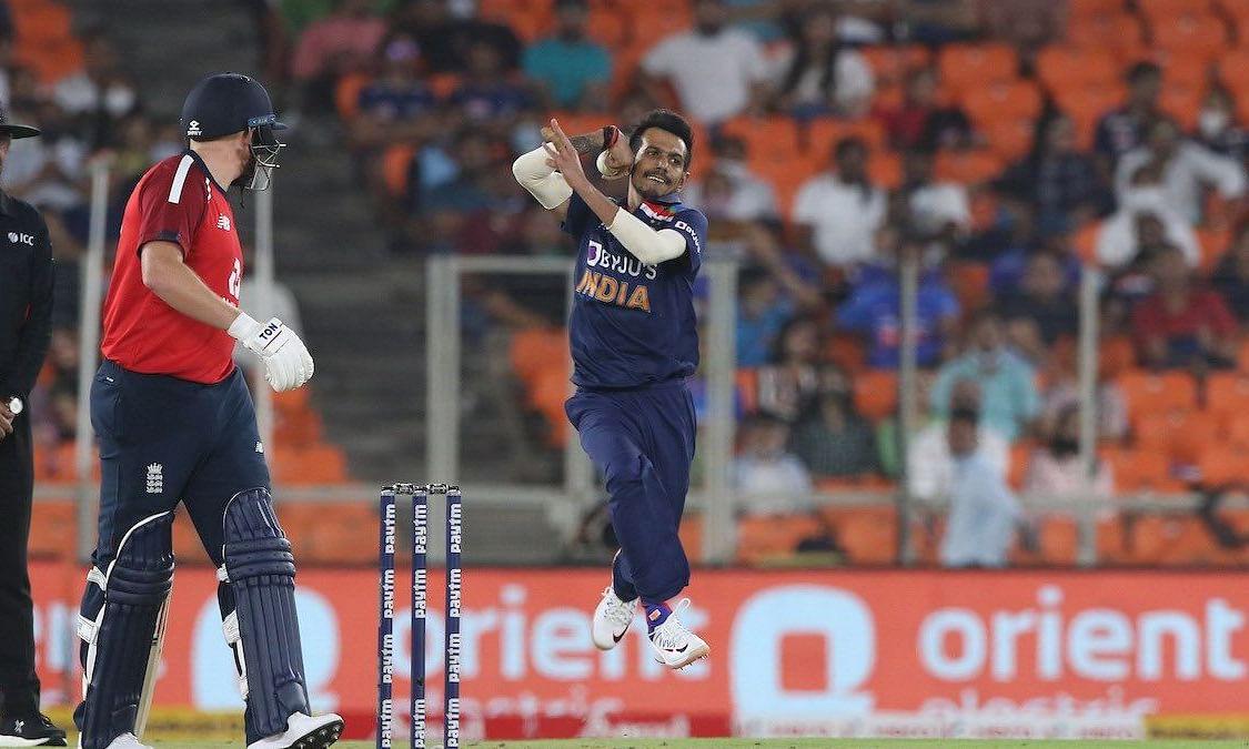 Yuzvendra Chahal during the second T20 against England at Narendra Modi Stadium, Ahemedabad