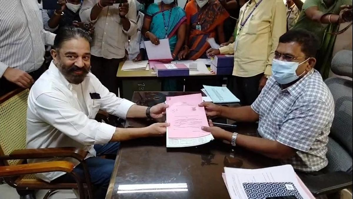 Kamal Haasan shared this picture on Twitter of him filing his nomination from Coimbatore
