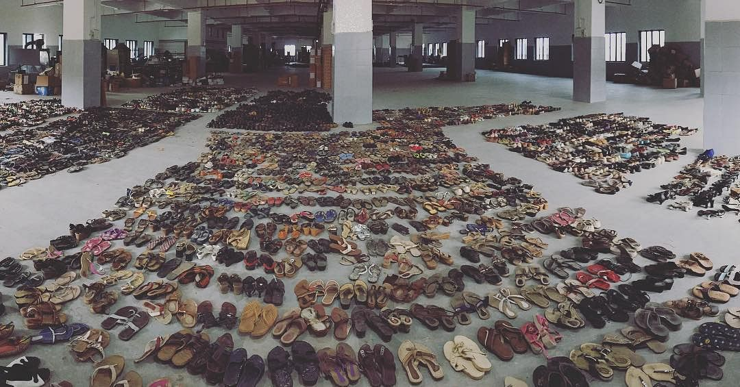 Discarded shoes at Greensole factory.