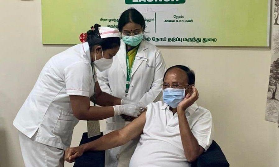 Vice President M Venkaiah Naidu took the jab of COVID vaccine on Monday