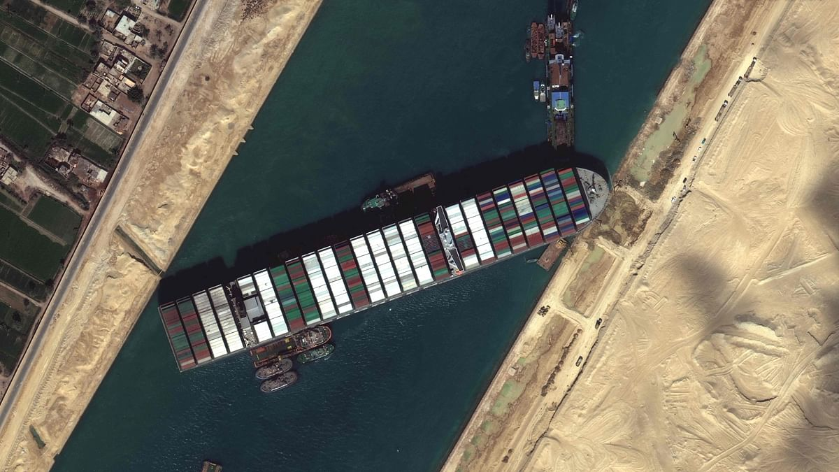 The Suez Canal is an artificial sea-level waterway in Egypt, connecting the Mediterranean Sea to the Red Sea.