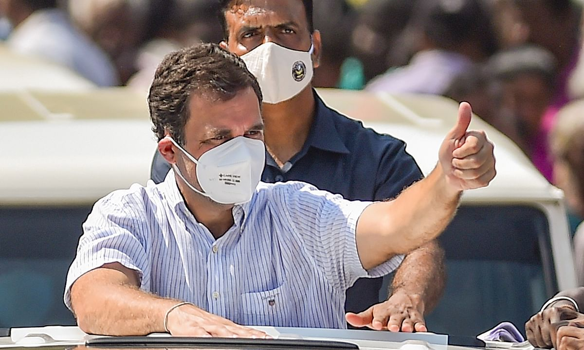 Congress leader Rahul Gandhi during his election campaign for the upcoming Tamil Nadu Assembly polls