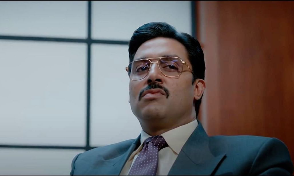 A screengrab from the trailer of 'The Big Bull' featuring actor Abhishek Bachchan as Hemant Shah