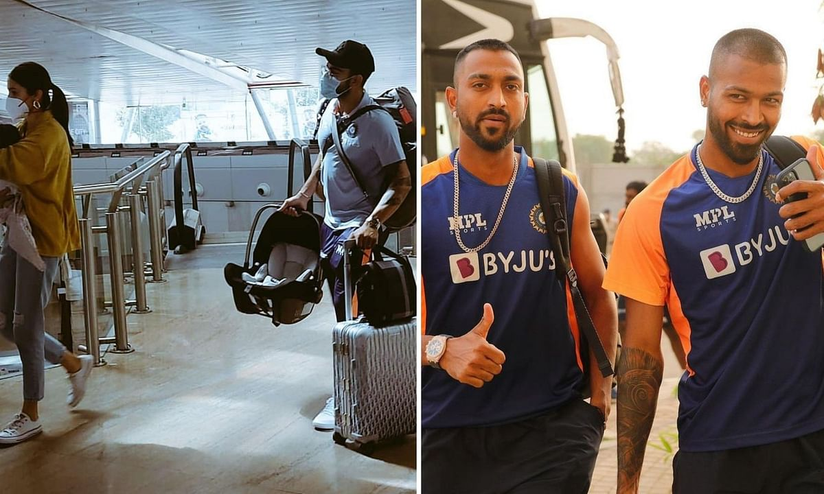 (L) India skipper Virat Kohli along with wife Anushka Sharma were spotted at Pune Airport and (R) Pandya Brothers were seen at MCA Stadium
