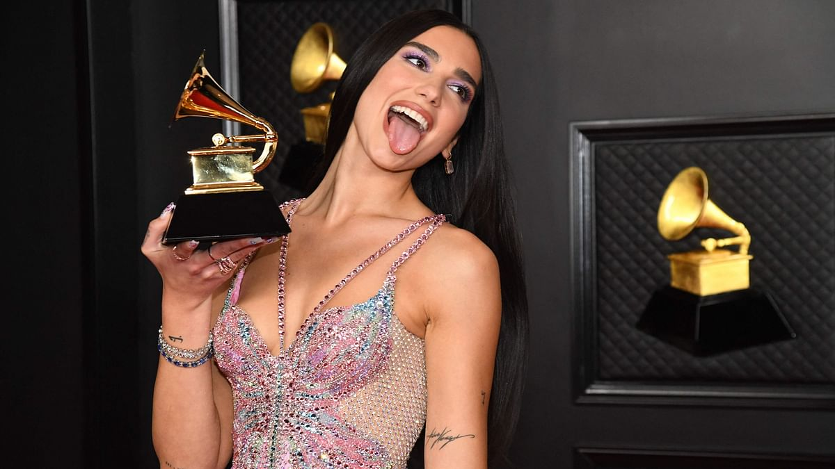 Dua Lipa, winner of Best Pop Vocal Album for 'Future Nostalgia' poses in the media room during the 63rd Annual Grammy Awards