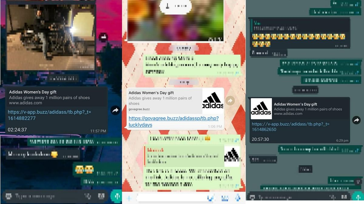 Forward message that claims that German sportswear Adidas is giving out free shoes.