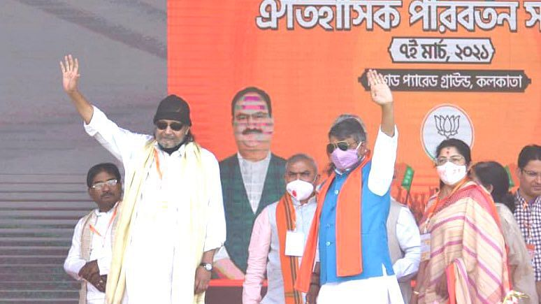 West Bengal elections 2021: Mithun Chakraborty joins BJP rally in Kolkata