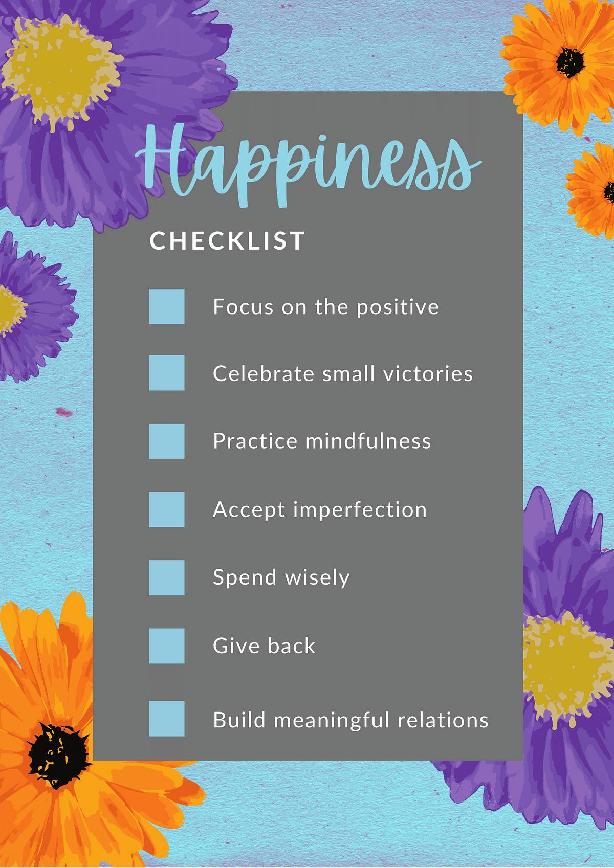A checklist for ensuring you feel happy