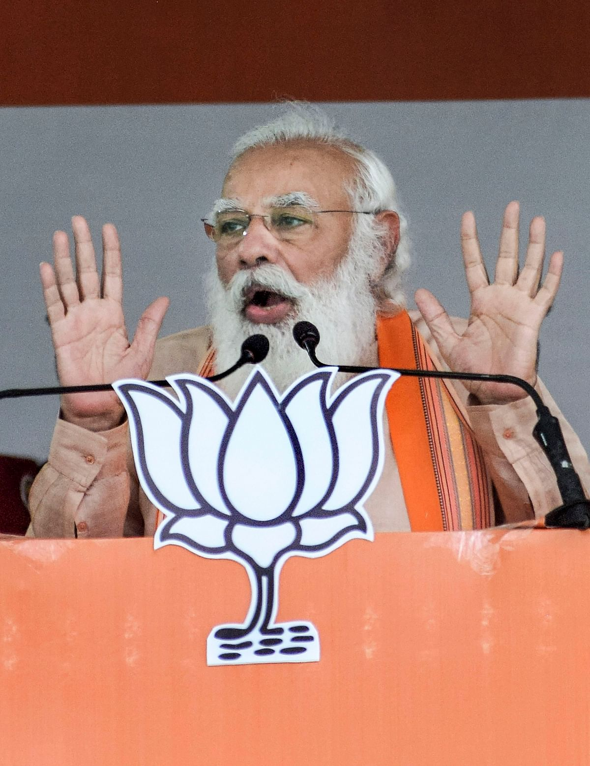 Prime Minister Narendra Modi speaks during a BJP election campaign rally, ahead of West Bengal assembly polls, in Purulia district, Thursday, March 18, 2021