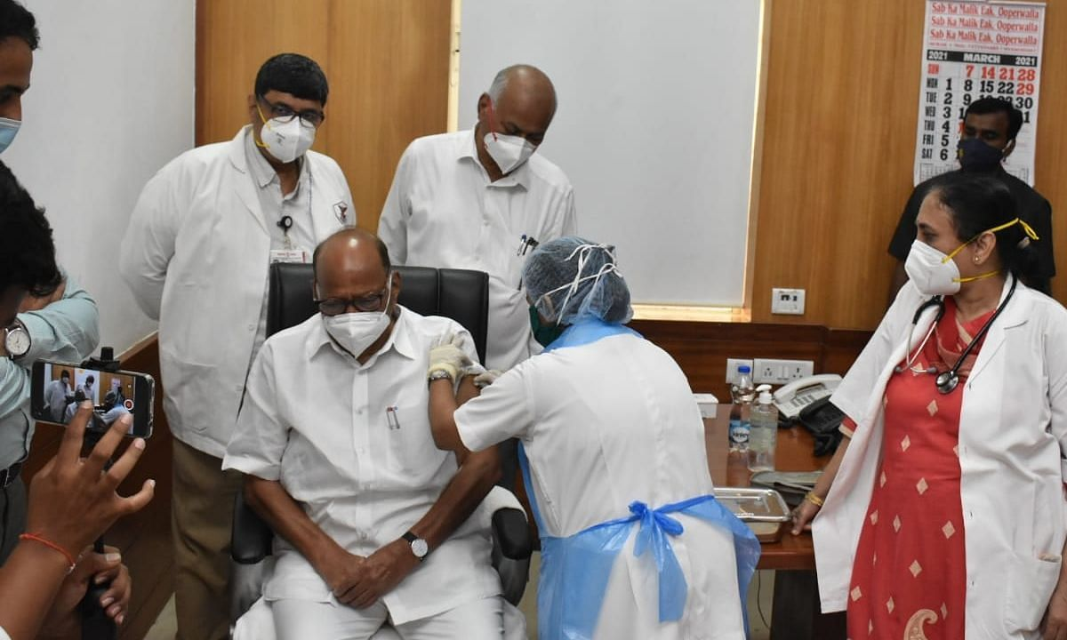 Sharad Pawar received the first jab of COVID-19 vaccine on Monday