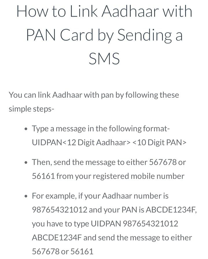 Process to link Aadhar with PAN via SMS