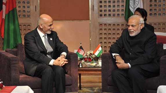 Afghanistan President Ashraf Ghani with Prime Minister Narendra Modi in 2014