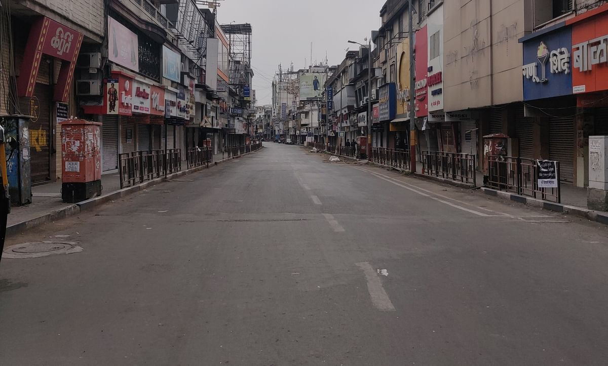 All shops were closed at Laxmi Road  remained shut during the weekend lockdown in Pune to restrict the further spread of COVID-19 infection