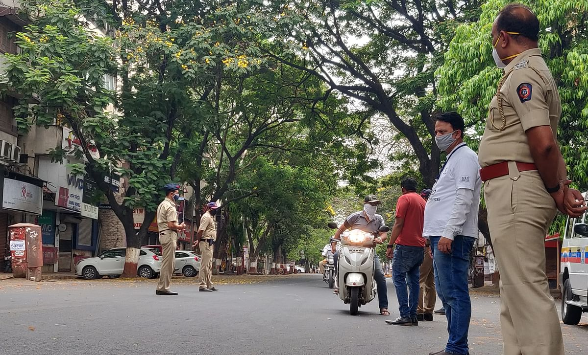 Police personnel at Pune's MG Road were busy keeping a close eye on those who were disobeying weekend lockdown guidelines