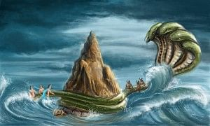 Churning of the ocean by the gods and demons.