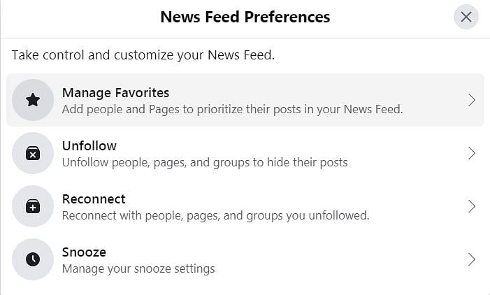 News Feed Preferences and options.