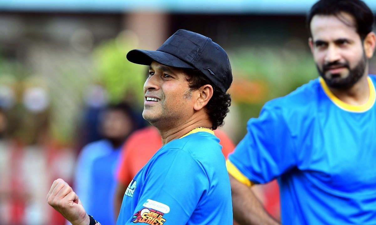 Sachin Tendulkar clicked during a practice session with Irfan Pathan in a recently concluded World Safety Series