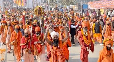 Holy men from across India gather at Haridwar for Ganga snan at Kumbh Mela