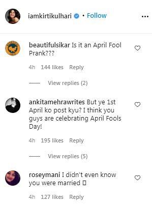 Replies to Kirti Kulhari's post on Instagram