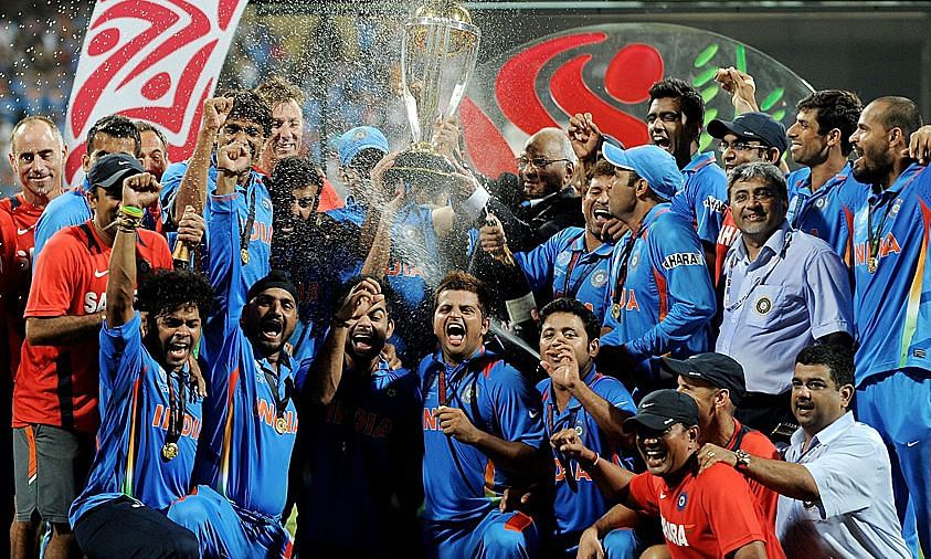 Indian cricket team lifting the World Cup trophy after defeating Sri Lanka in 2011