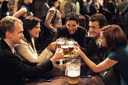 (From left to right) Barney (Neil Patrick Harris), Robin (Cobie Smulders), Ted (Josh Radnor), Marshall (Jason Segel) & Lily (Alison Hannigan) from season one of HIMYM.