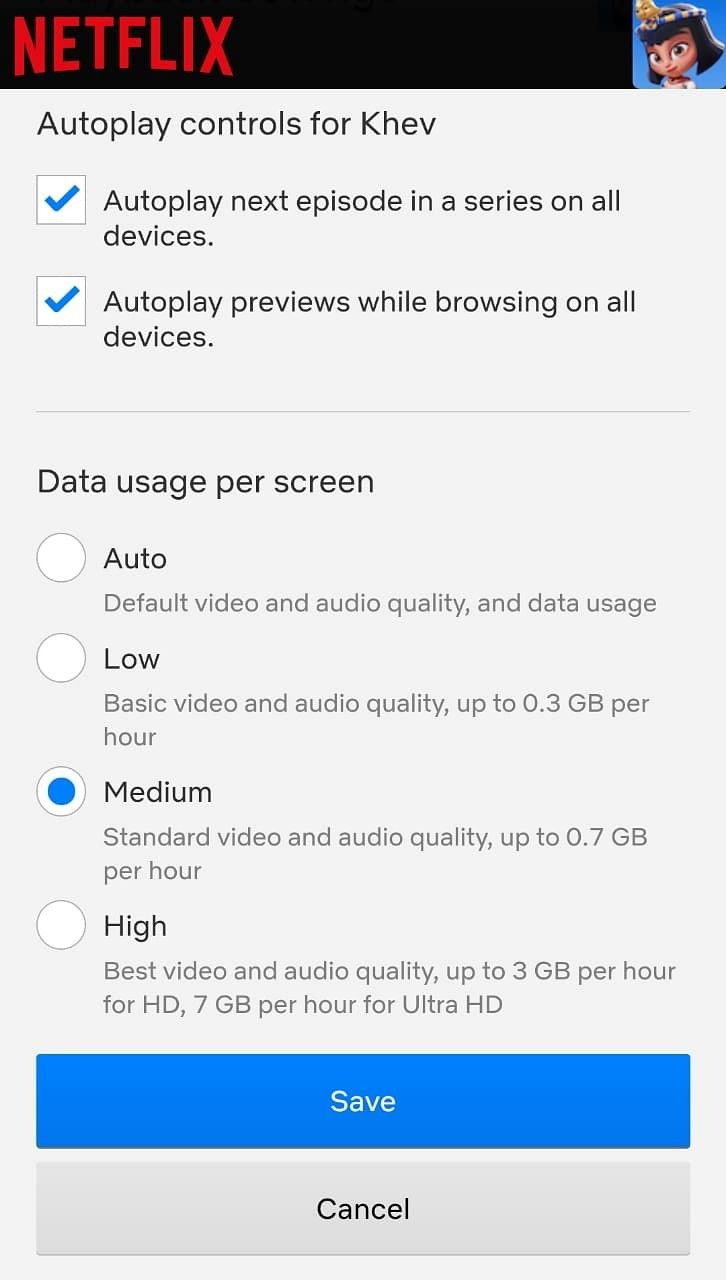 Users can choose between several playback options on Netflix settings.
