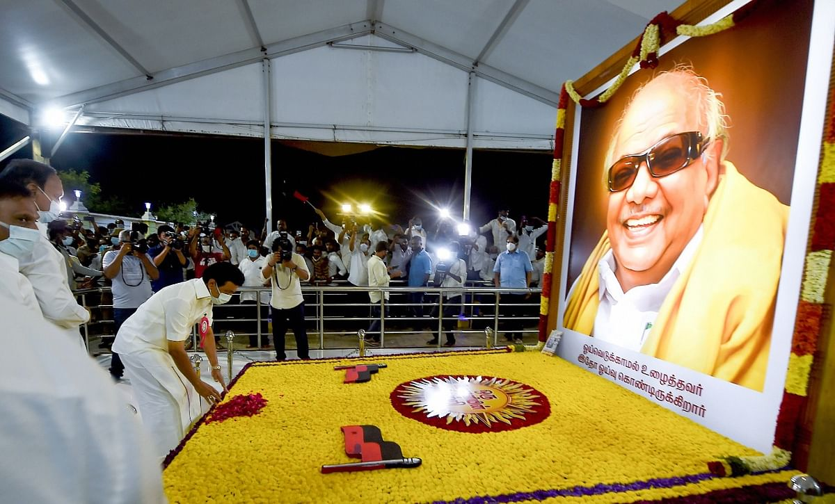 DMK president MK Stalin visits his father and former chief minister of Tamil Nadu late M Karunanidhi's memorial after receives the victory certificate , in Chennai, Sunday night, May 3, 2021.