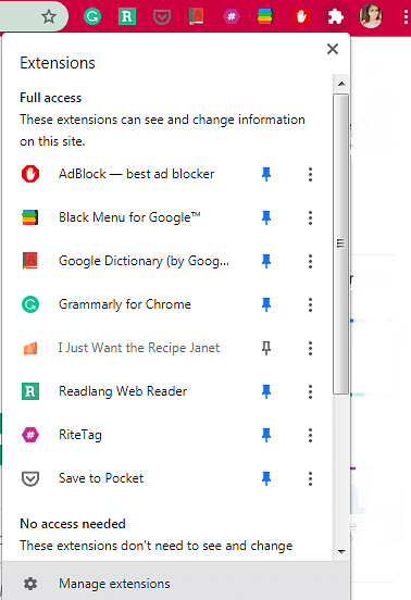 Users can pin or unpin their favourite extensions from the dashboard.