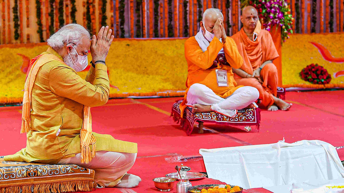 Prime Minister Narendra Modi offers prayers while attending the foundation stone laying ceremony for the construction of the Ram Mandir in Ayodhya.