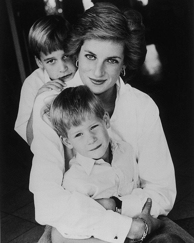 Princess Diana with her Children Prince William and Prince Harry