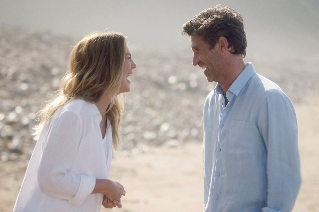 The show's account posted this image from it's ongoing season where Meredith Grey reunites with her late husband, Derek Shepherd, in a dream sequence