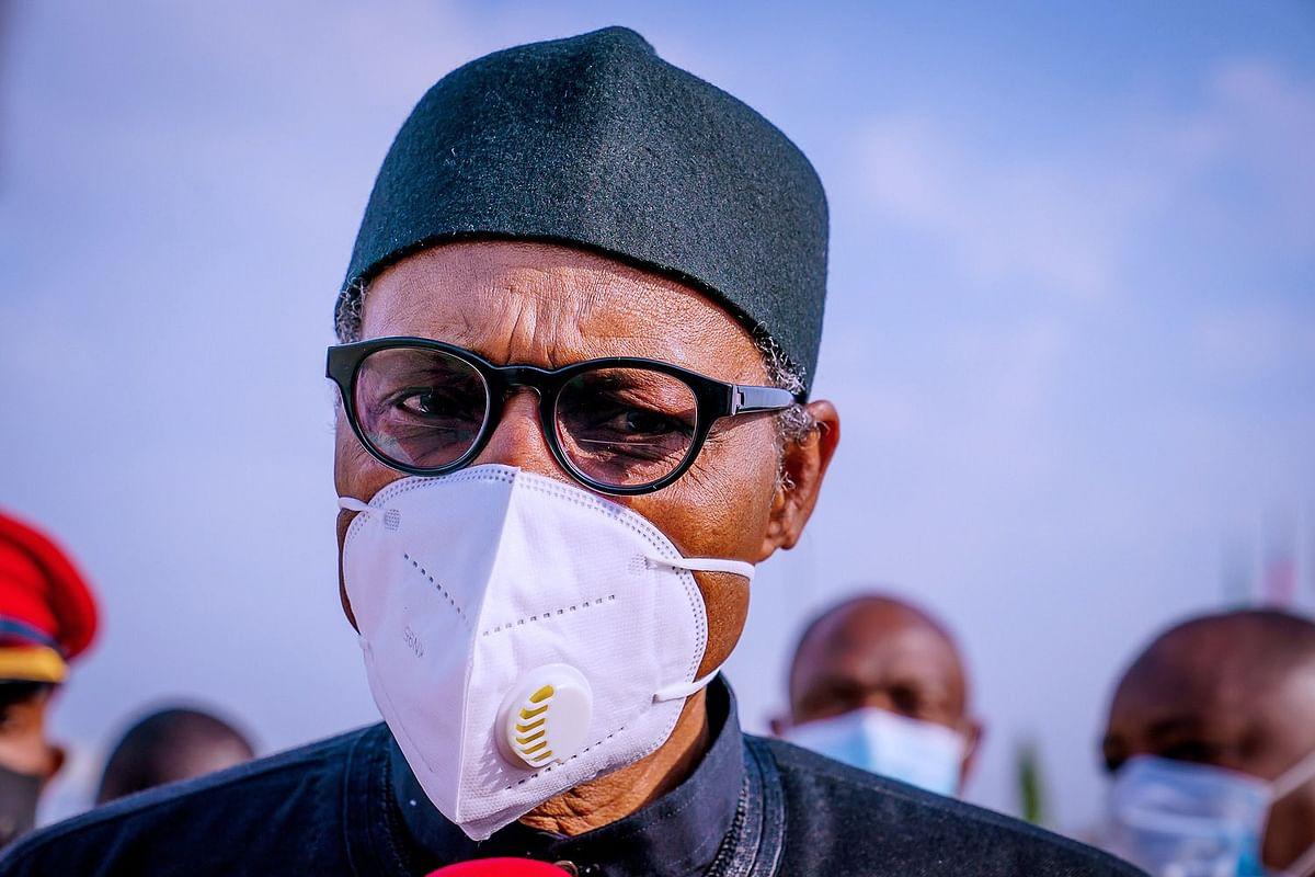 Nigerian President Muhammadu Buhari in the captial city of Abuja, Nigera on April 15, 2021