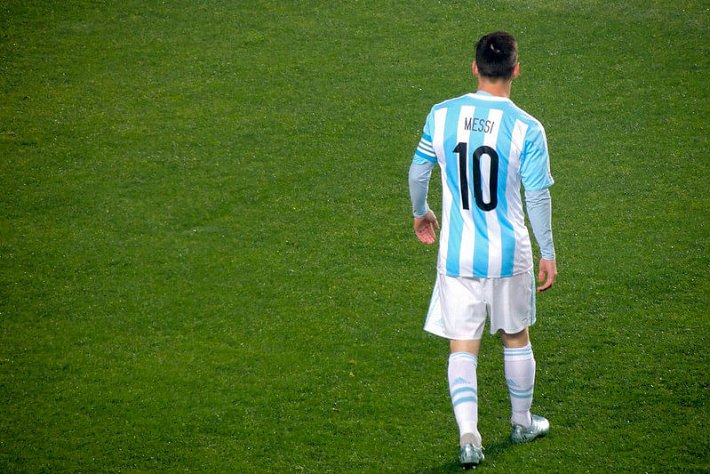 Messi donning the white and blue jersey during the Copa America 2015 campaign
