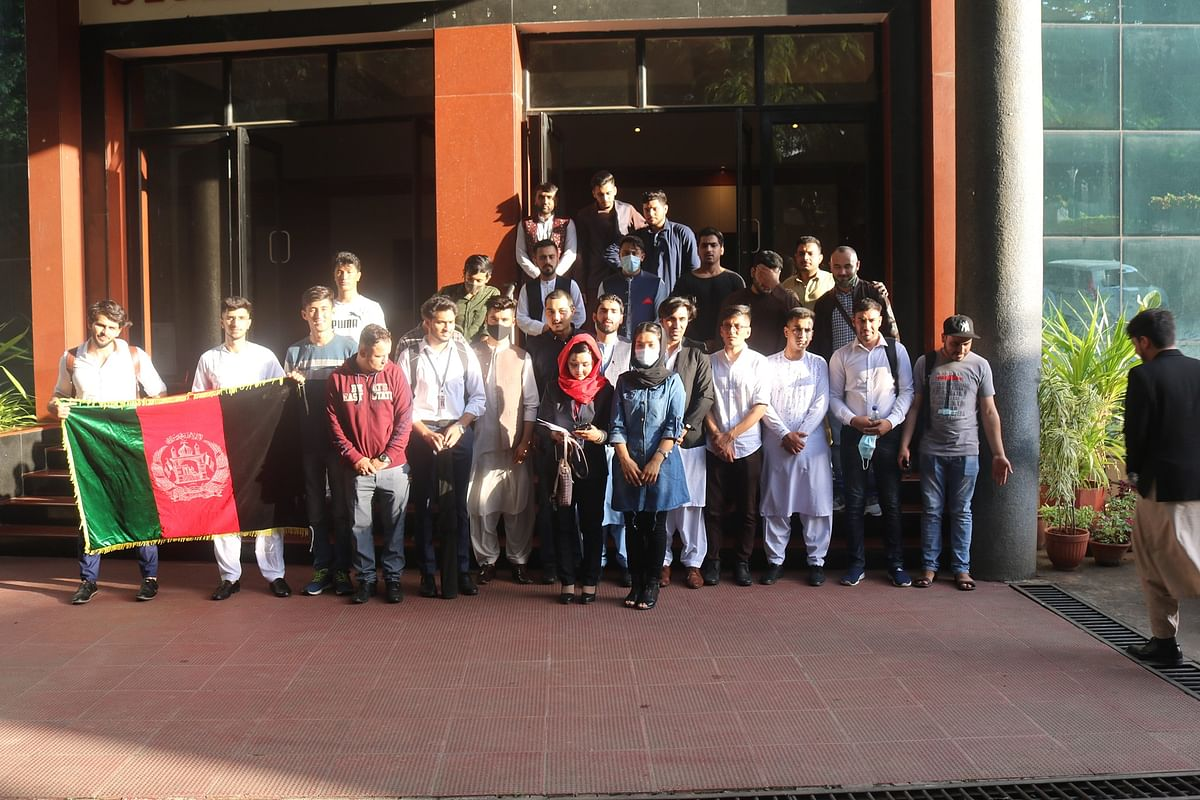 Afghan Students in Pune gathered at the Symbiosis International University Hall to celebrate Afghanistan's 102nd Independence Day