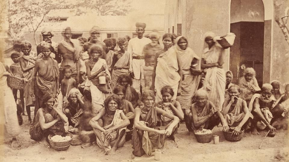 Scene in a relief camp during the famine 1876-1878 in Madras, Tamil Nadu, South India