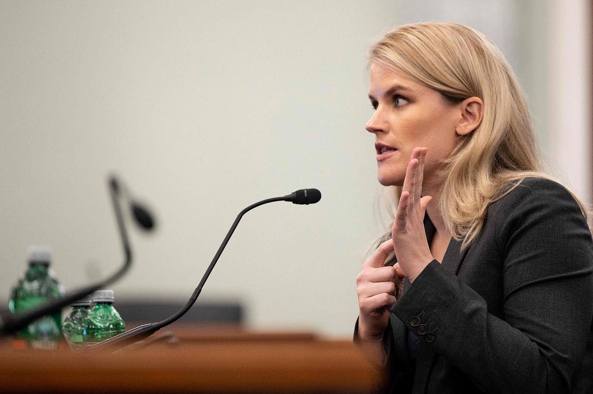 Former Facebook employee and whistleblower Frances Haugen testifies before a Senate Committee
