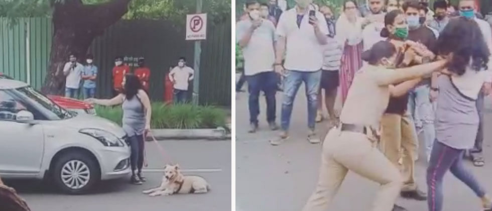 Pune: Irritated over car drivers honking, woman walking her dog obstructs traffic on Fergusson road