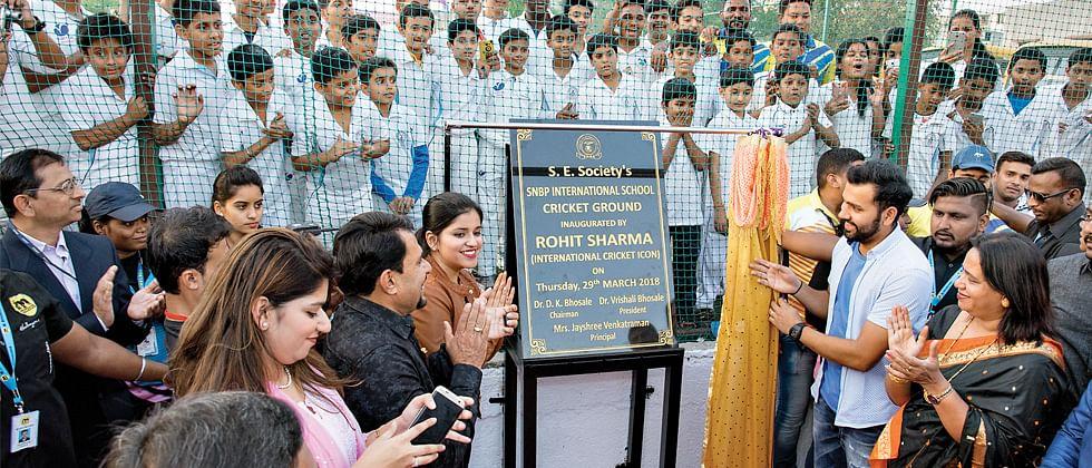 Hitman inaugurates Mini Cricket ground at SNBP School, Rahatani