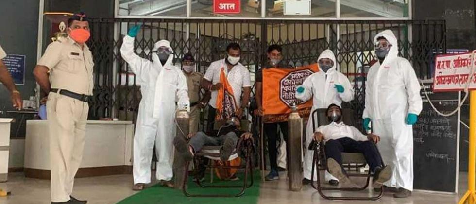 COVID-19: Maharashtra Navnirman Sena protests at Pimpri-Chinchwad Municipal Corporation building over shortage of hospital beds