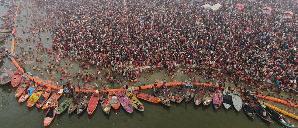 Devotees flock the banks of Ganga on the occasion of Kumbh Mela.