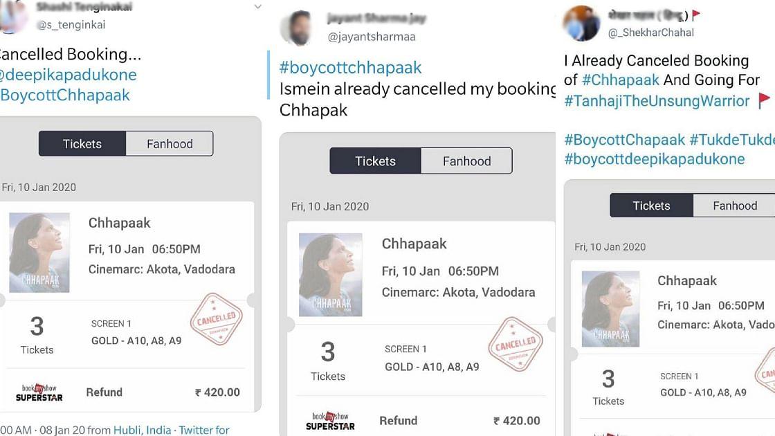 'പോസ്റ്റ് ചെയ്തത് കോപ്പി പേസ്റ്റ് ടിക്കറ്റ്': ദീപികയുടെ 'ഛപകി'നെതിരായ പ്രചാരണം പൊളിഞ്ഞു