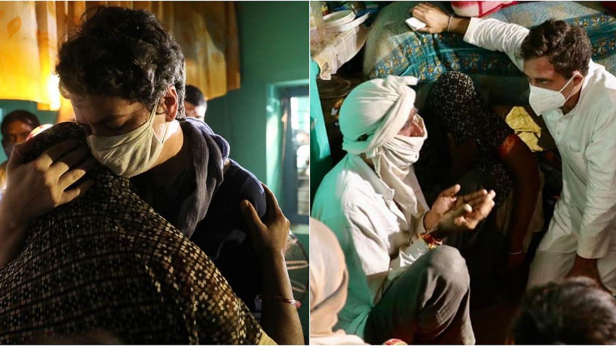 നീതി ഉറപ്പാക്കണമെന്ന് ഹത്രസ്  പെണ്കുട്ടിയുടെ അമ്മ ; കുടുംബത്തെ ചേര്ത്തുപിടിച്ച് രാഹുലും പ്രിയങ്കയും
