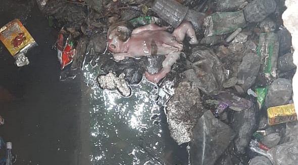 मैनपुरी में नवजात को नाले में फेंका, मौत