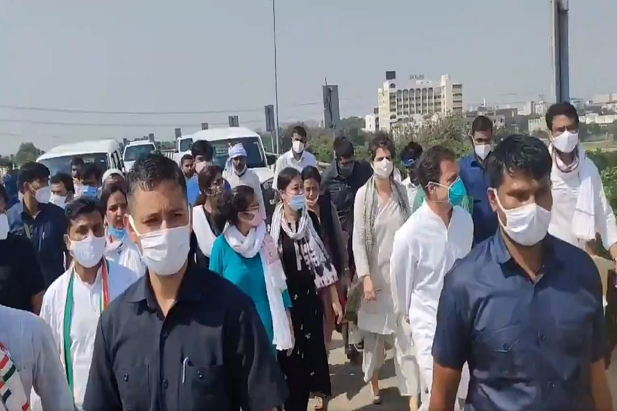 Their Convoy Stopped By Police, Priyanka Gandhi-Rahul Begin March On Foot To Hathras