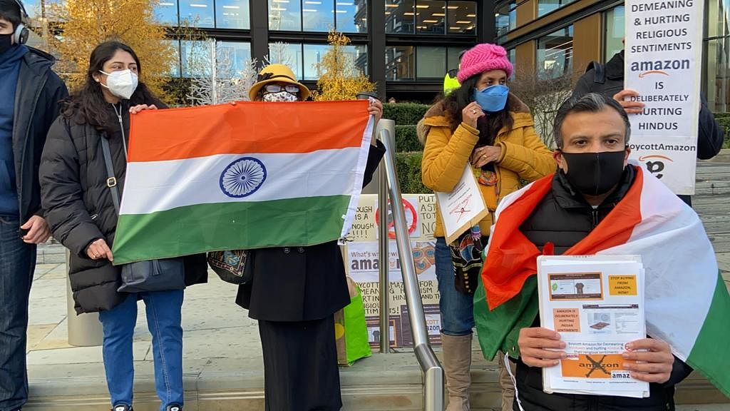 Protest Held Outside Amazon Office Against Products With Hindi Religious Symbols