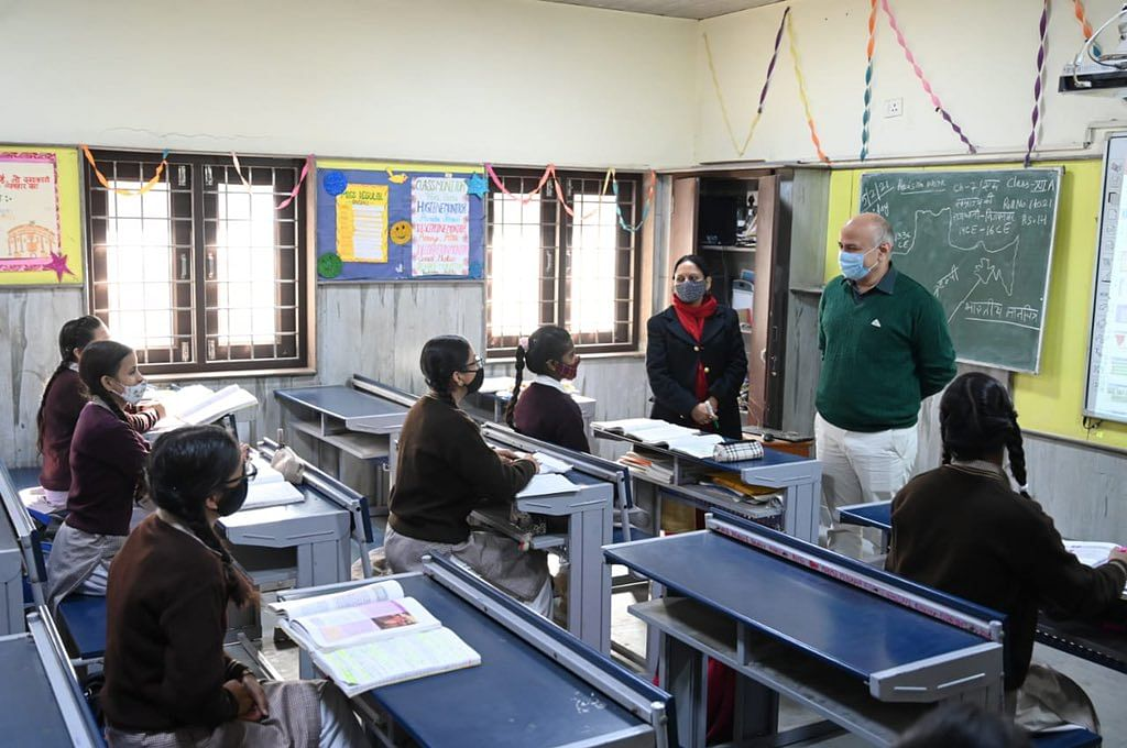 Manish Sisodia Interacts With Children As Schools For Class IX And XI Reopen In Delhi