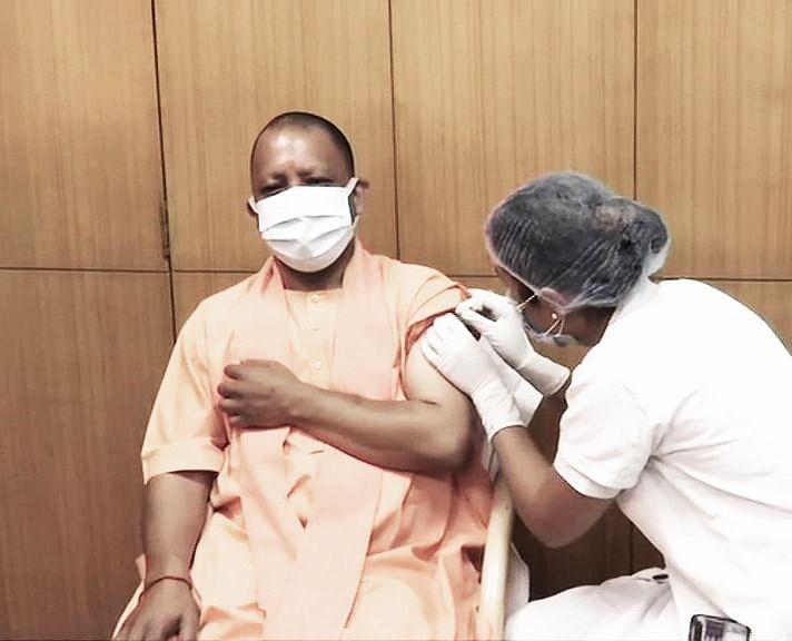 Yogi Adityanath Administered First Dose Of Corona Vaccine
