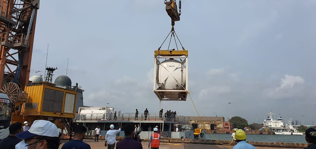 Forty Metric Tonnes Of Liquid Oxygen Arrives In Mangalore From Bahrain