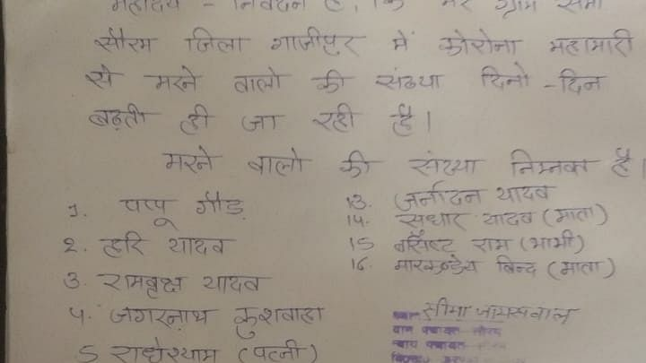 A Village Head In UP Sends SOS To DM, Lists Names Of 16 Who Died Of COVID Like Symptoms